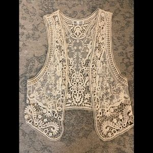 Vintage Garage Crochet Cream Vest
